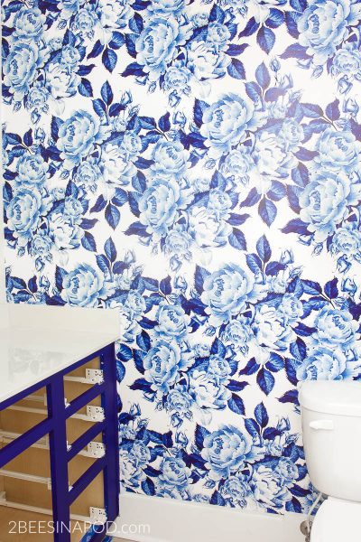 Bold Floral Blue and White Removable Wallpaper – One Room Challenge Week 3