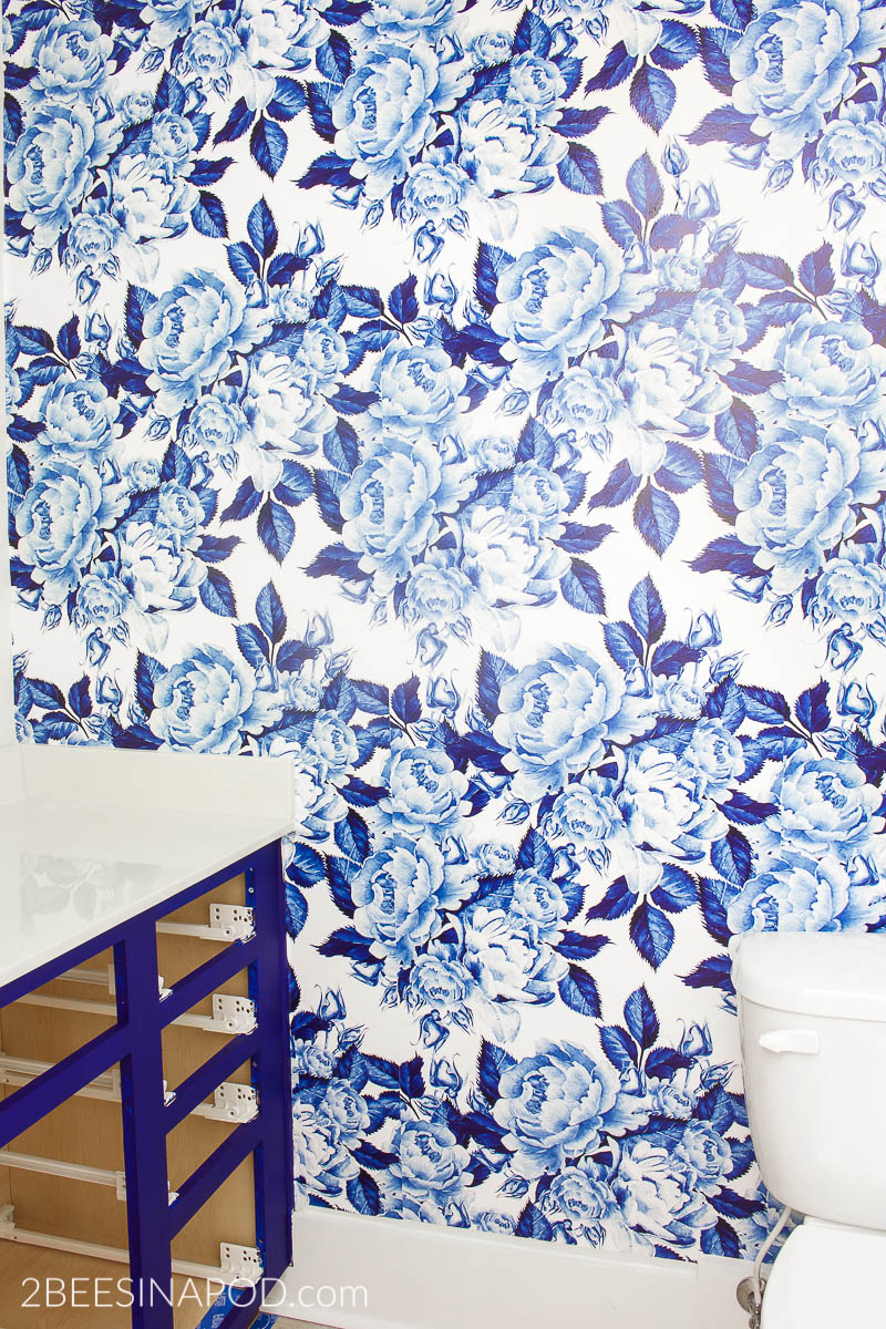 Bold Floral Blue And White Removable Wallpaper One Room