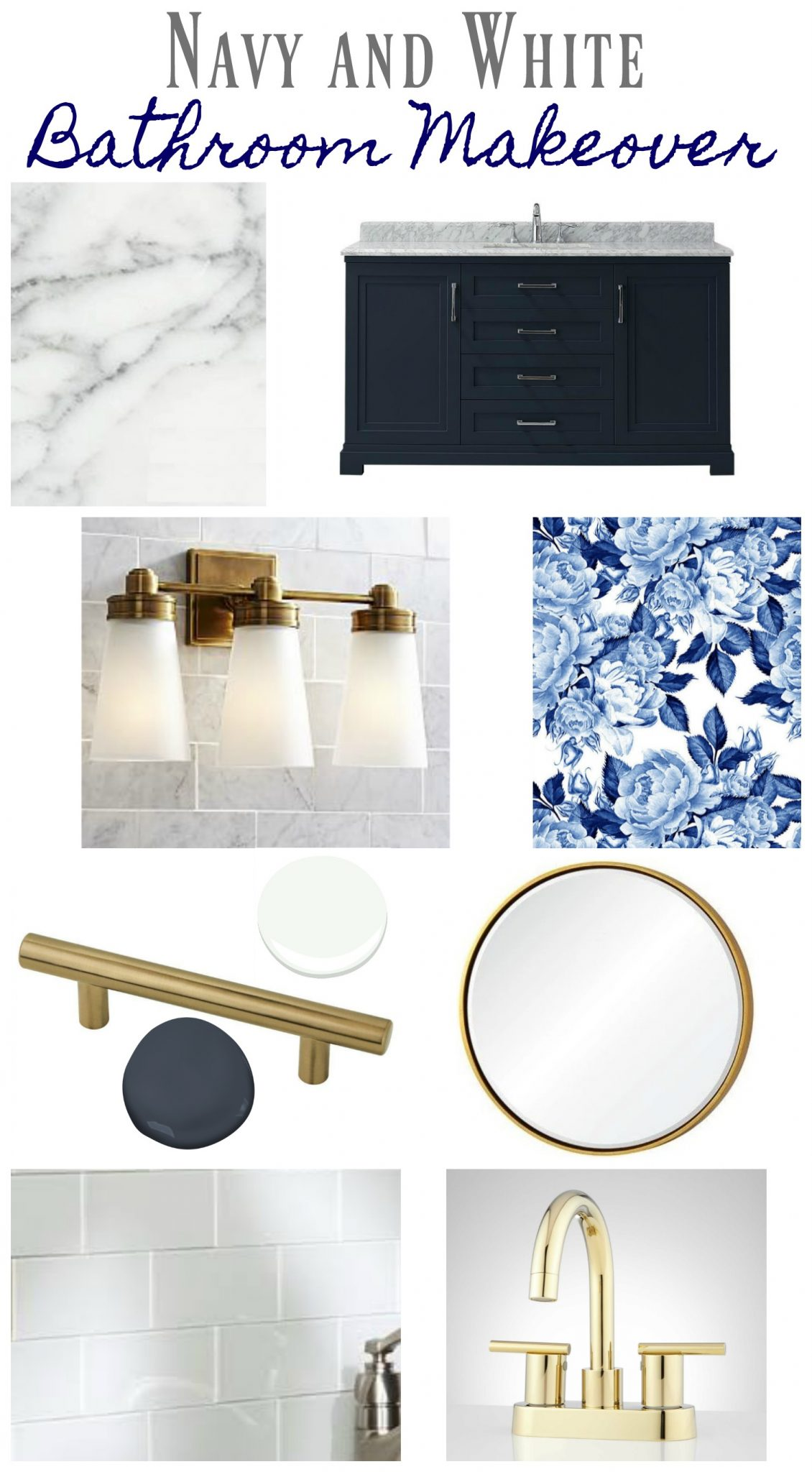 Navy and White Bathroom Makeover - Mood board for bathroom makeover