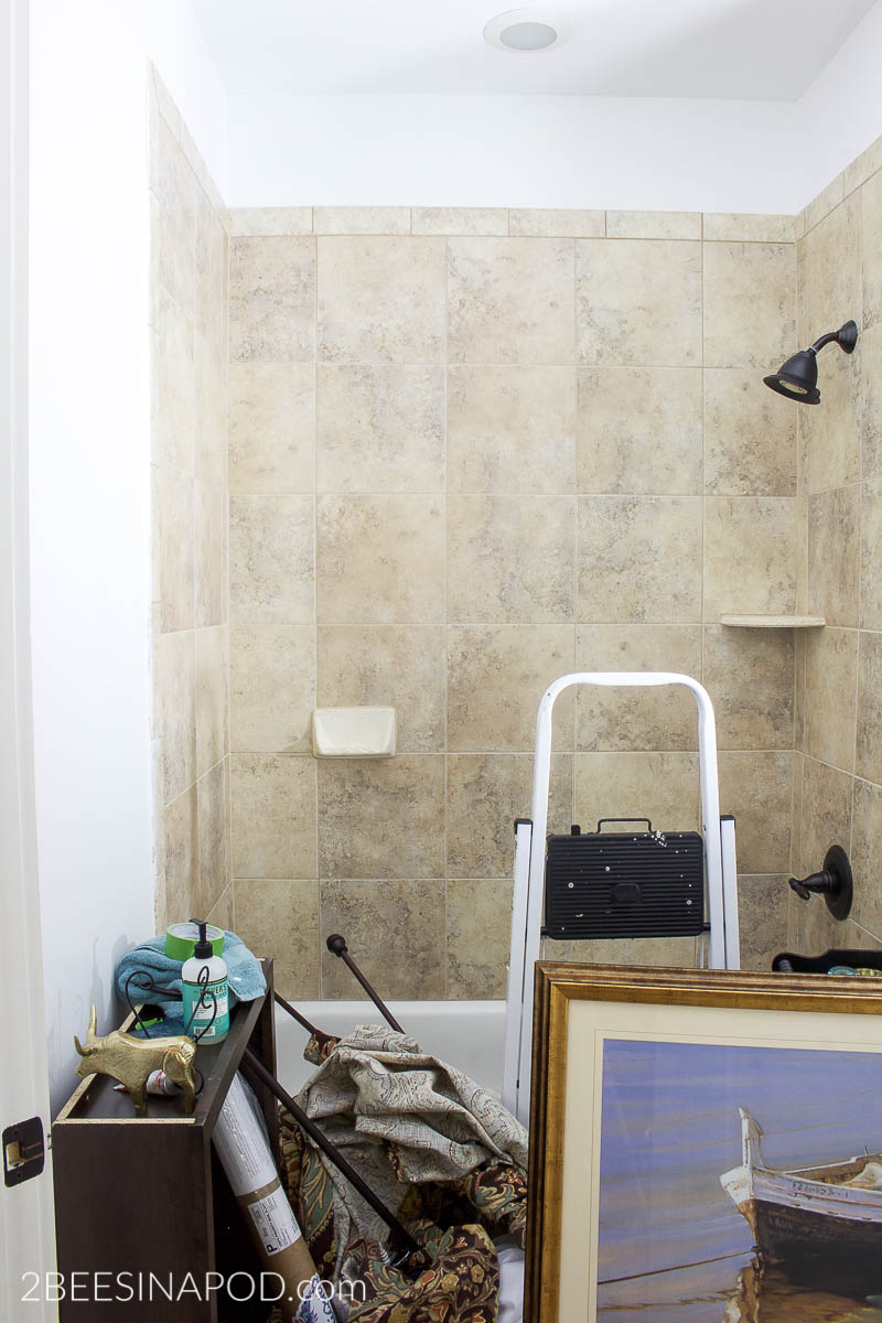 remove-large-bathroom-mirror-bathroom-makeover-20 - 2 Bees in a Pod