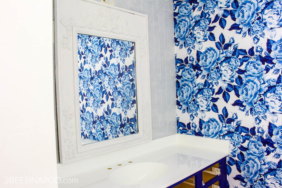 6615c4f764aae Blue and White Bathroom Makeover - One Room Challenge Week - 2 Bees ...