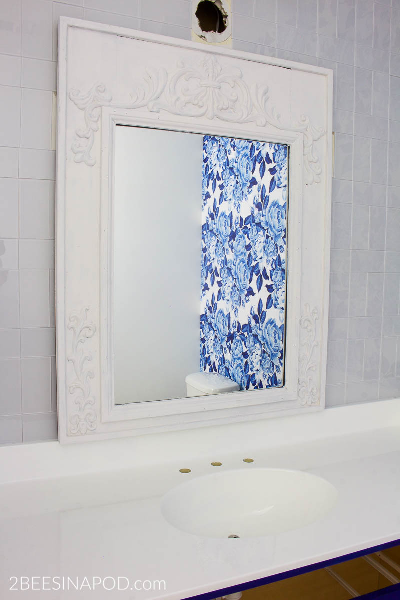 Blue and White Bathroom Makeover - One Room Challenge Week - 2 Bees ...
