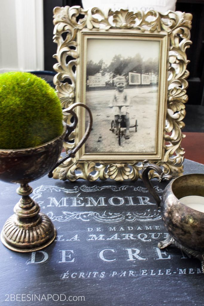 10 ways to repurpose things from the thrift store. French Lazy Susan Vignette - Coffee Table Display