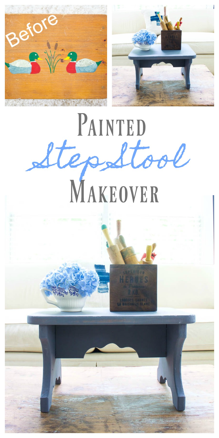 Phenomenal Painted Step Stool Makeover 2 Bees In A Pod Inzonedesignstudio Interior Chair Design Inzonedesignstudiocom