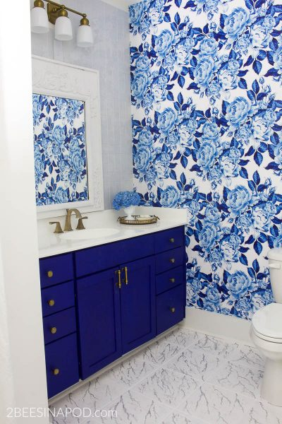 Blue and White Bathroom Makeover Reveal – One Room Challenge Week 6