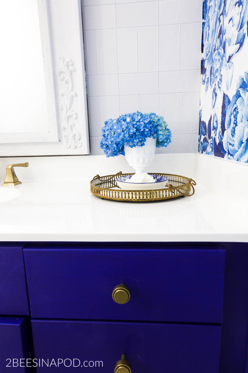 Blue And White Bathroom Makeover Reveal One Room