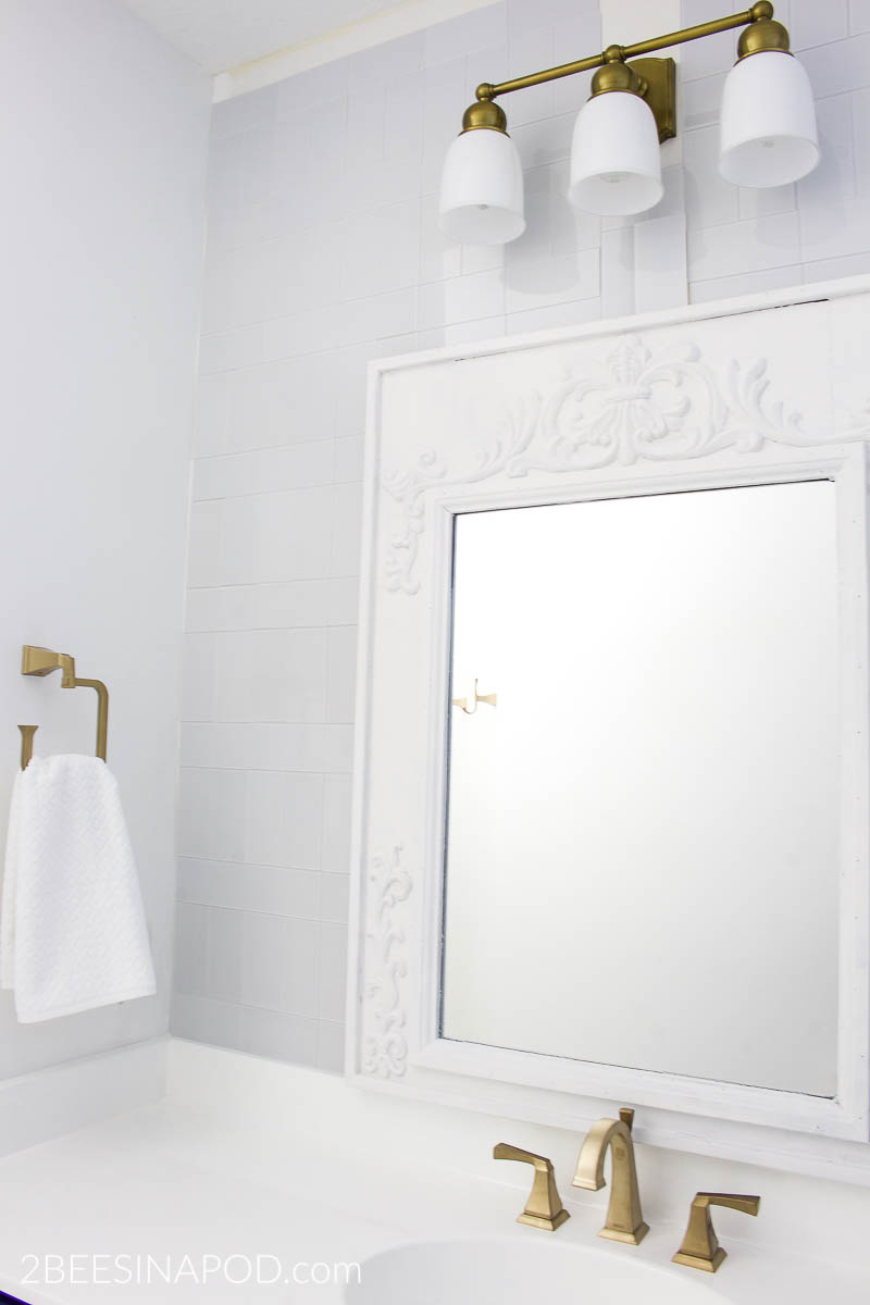 Blue and White Bathroom Makeover Reveal - One Room Challenge Week 6
