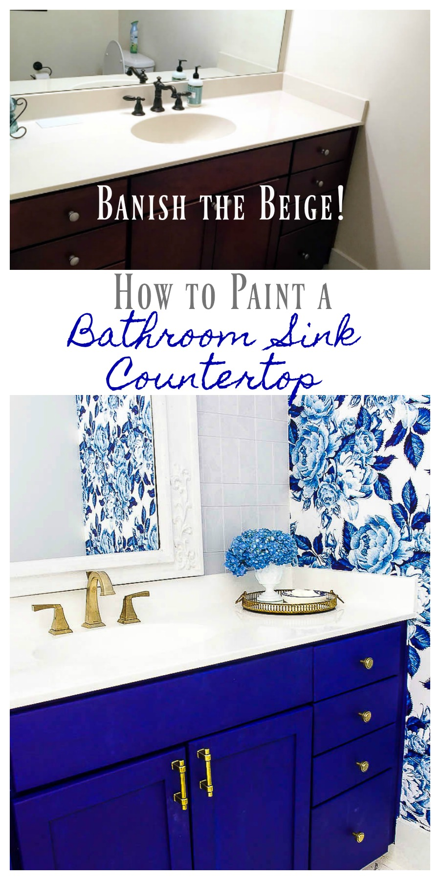 DIY Painted Bathroom Countertop and Sink - 2 Bees in a Pod