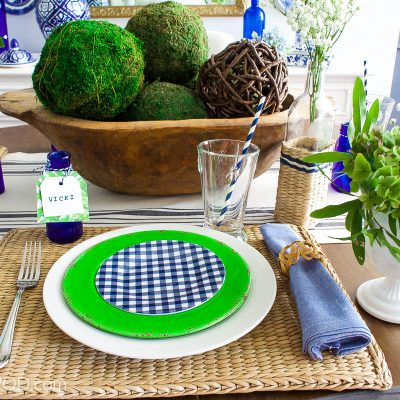 Casual Summer Tablescape Blue Gingham and Green