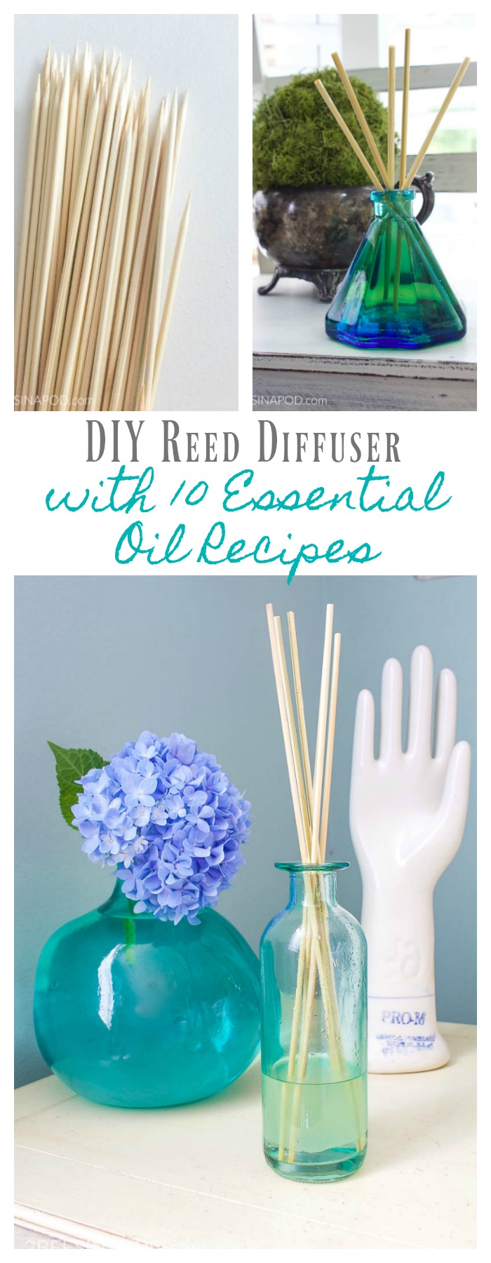 DIY Reed Diffuser with 10 Essential Oil Recipes. Perfect essential oil recipes for whatever is going on in your life.
