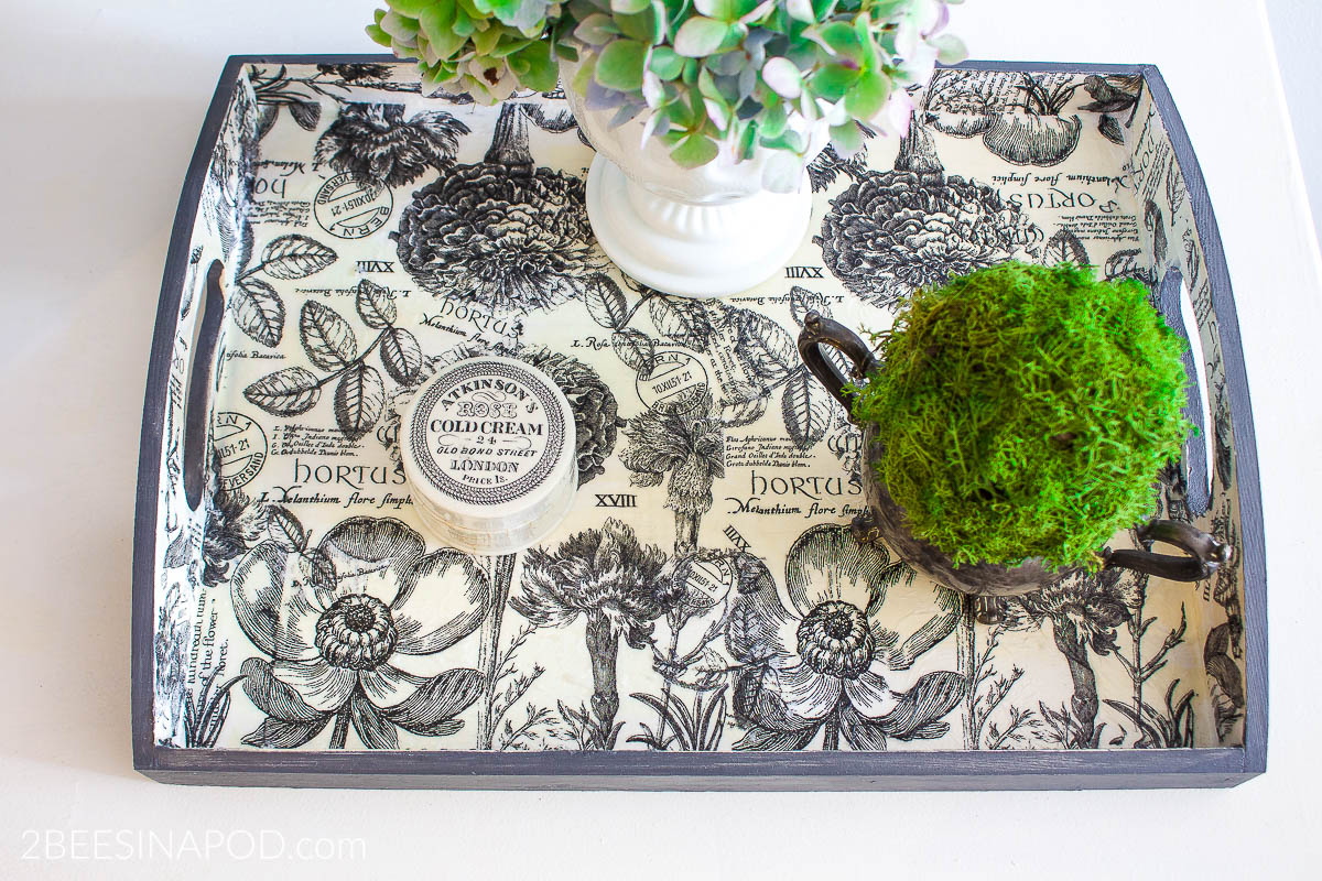 How To Decoupage With Paper Napkins And Make A Tray Look Fabulous 2 Bees In A Pod