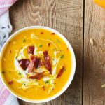 Roasted Butternut Squash Soup with Bacon - Creamy and Delicious - 2 Bees in a Pod