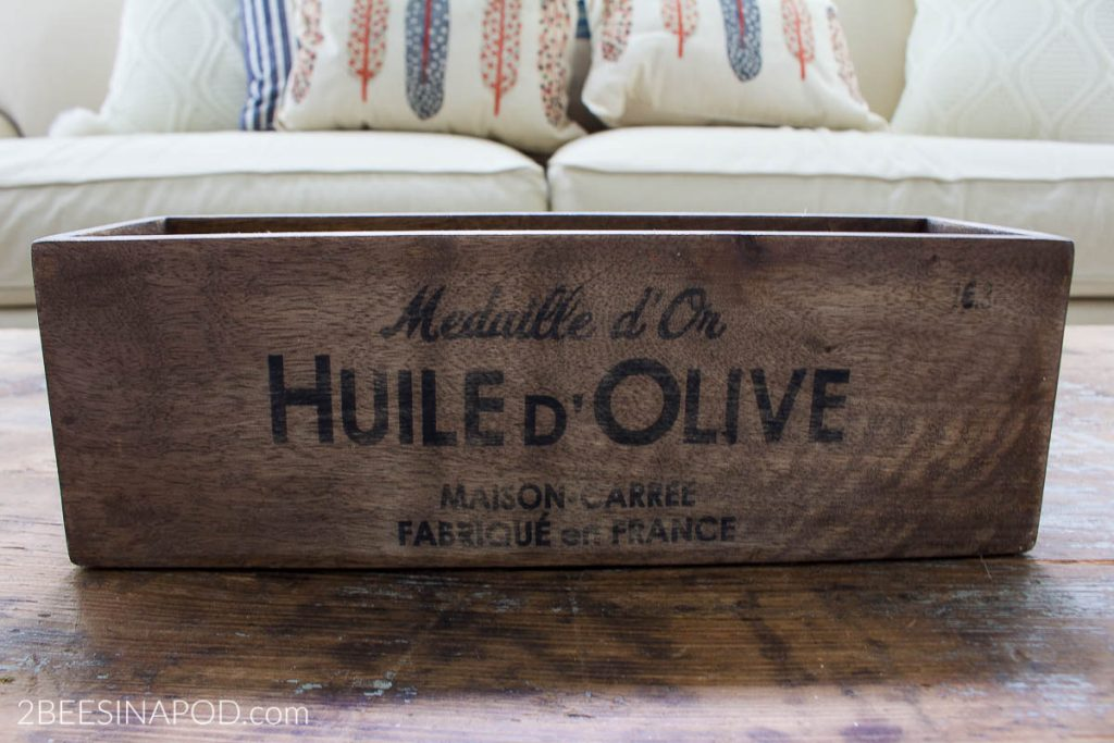 Easy Fall Centerpiece - vintage french olive oil box