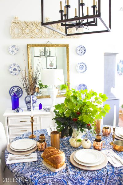 Fall Style in the Dining Room – Blue White Copper