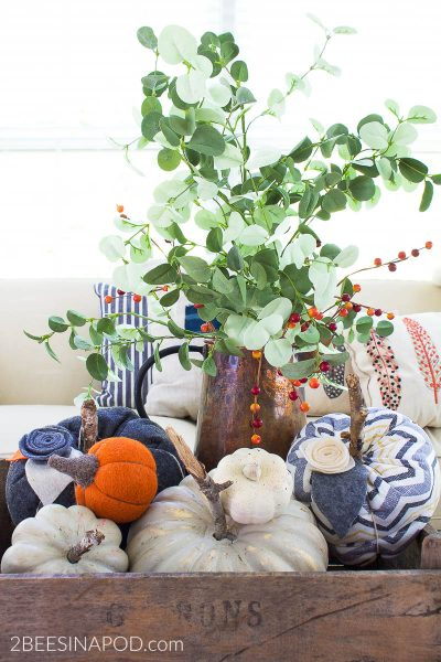 Fall Vignette with Pumpkins and Copper