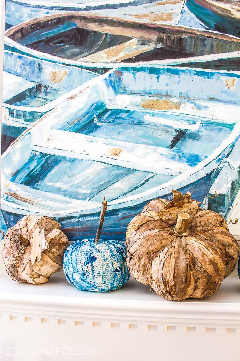 Indigo Blue Fall Mantel Decor