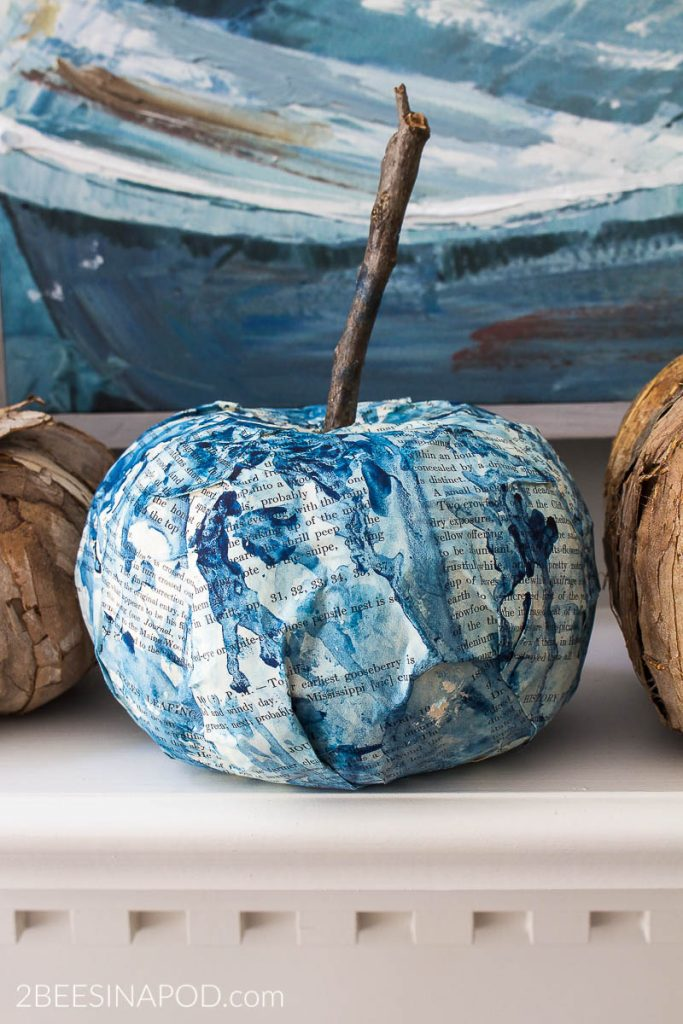 Painted indigo blue pumpkin. 7 Favorite Faux Pumpkins to Make for Fall