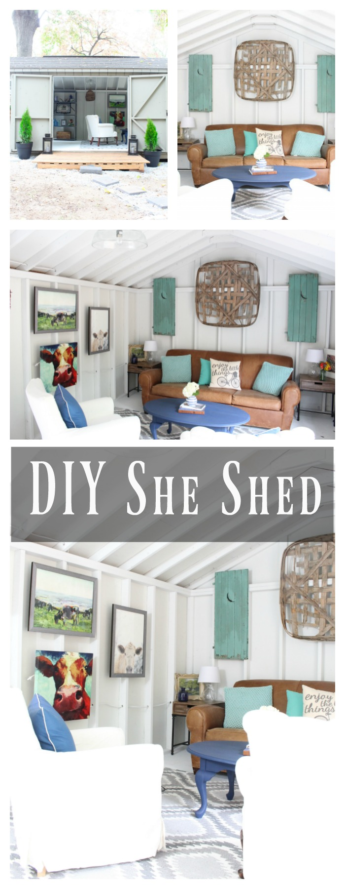 DIY She Shed Style - farmhouse style she shed