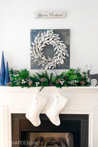 Blue and Silver Christmas Mantel Decor