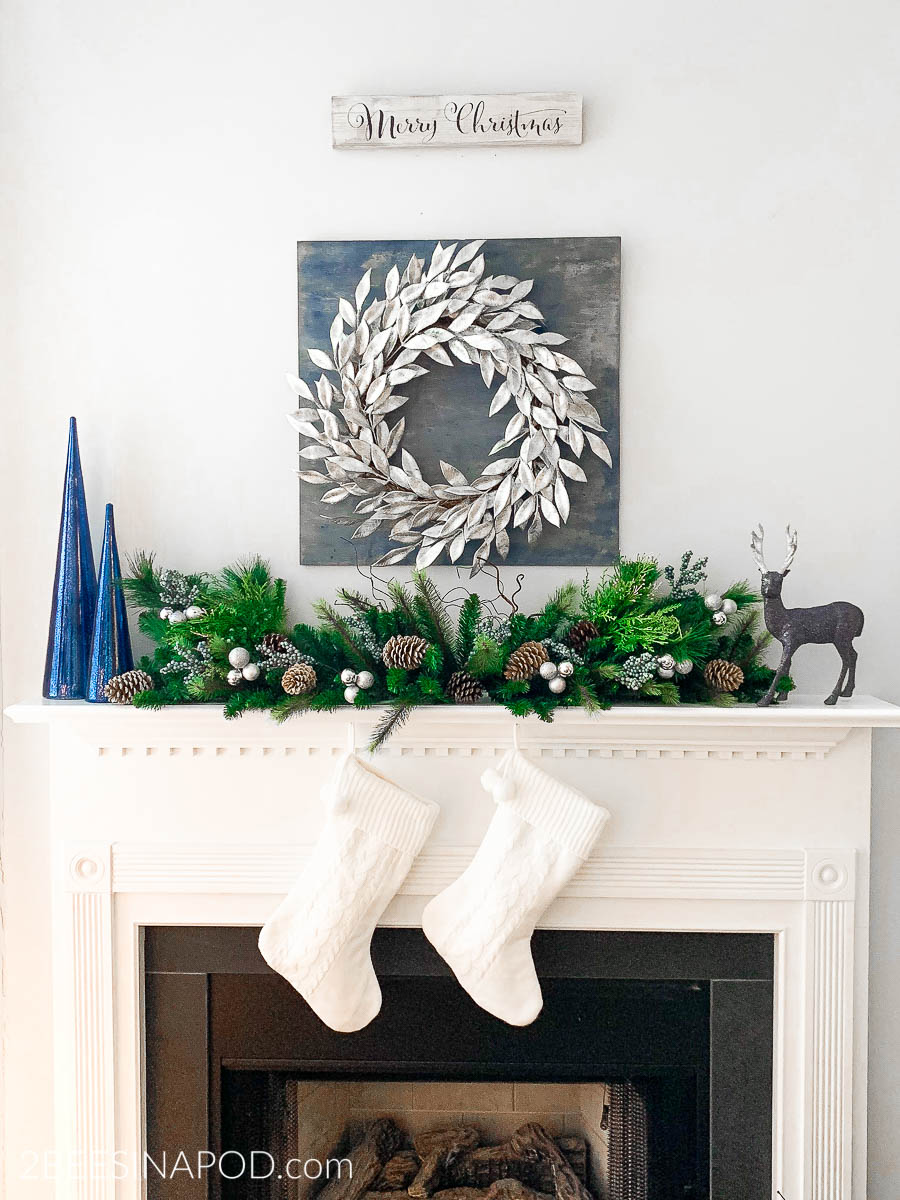Christmas Mantel.Blue And Silver Christmas Mantel Decor 2 Bees In A Pod
