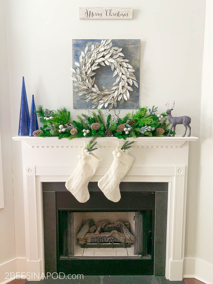 Blue And Silver Christmas Mantel Decor 2 Bees In A Pod