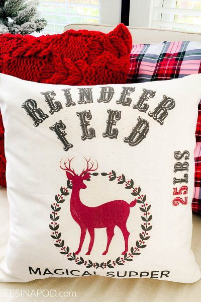 DIY Reindeer Feed Christmas Pillow – Iron On Transfer Printable