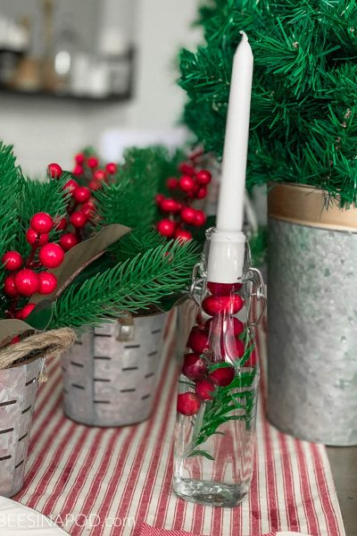 Easy Rosemary and Cranberry Centerpiece Candleholders