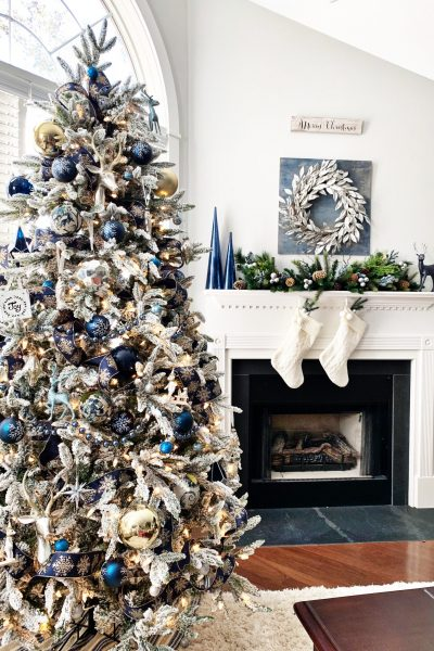 Blue and Silver Christmas Tree for the Living Room