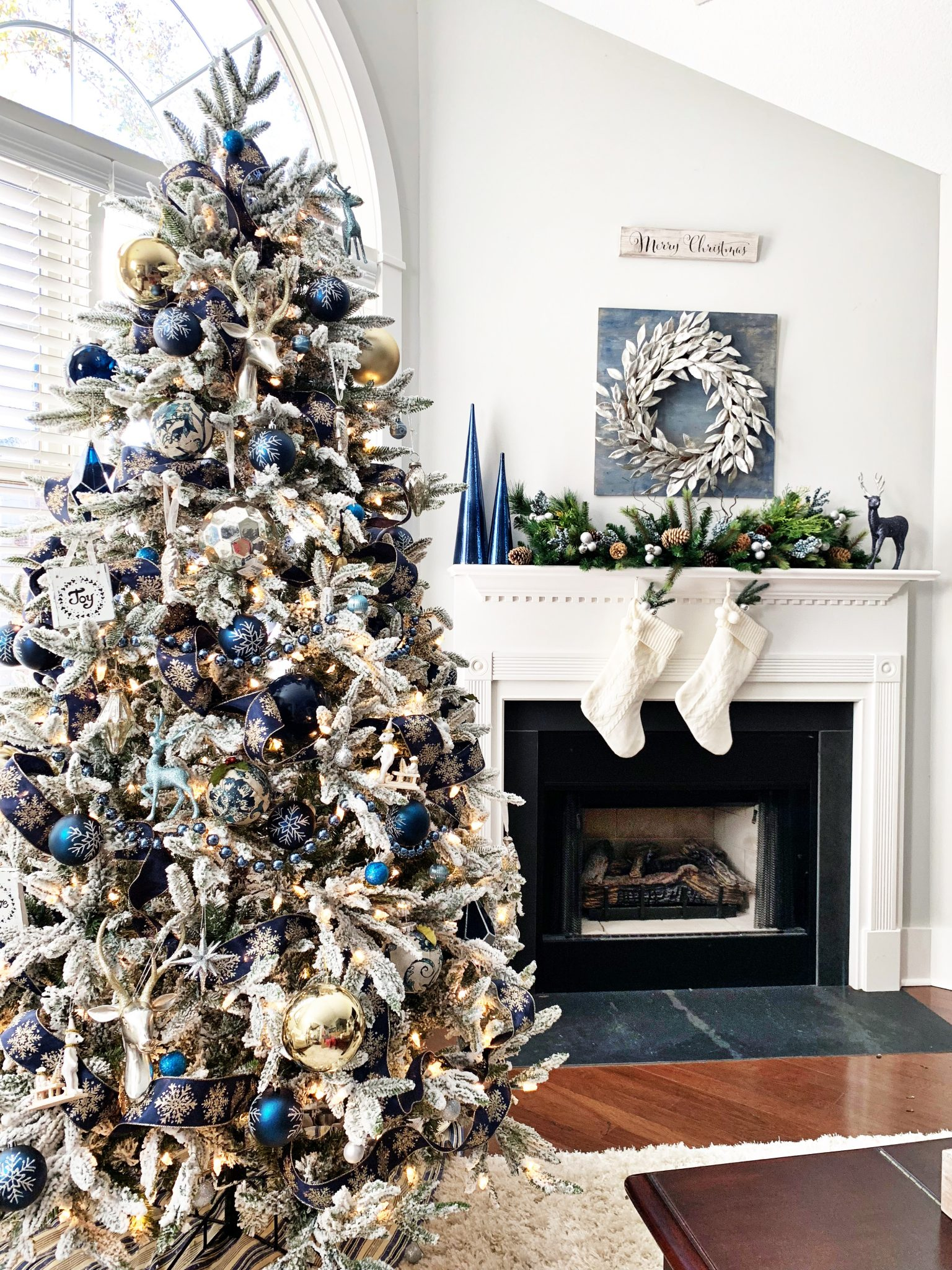 Blue And Silver Christmas Tree For The Living Room 2 Bees In A Pod