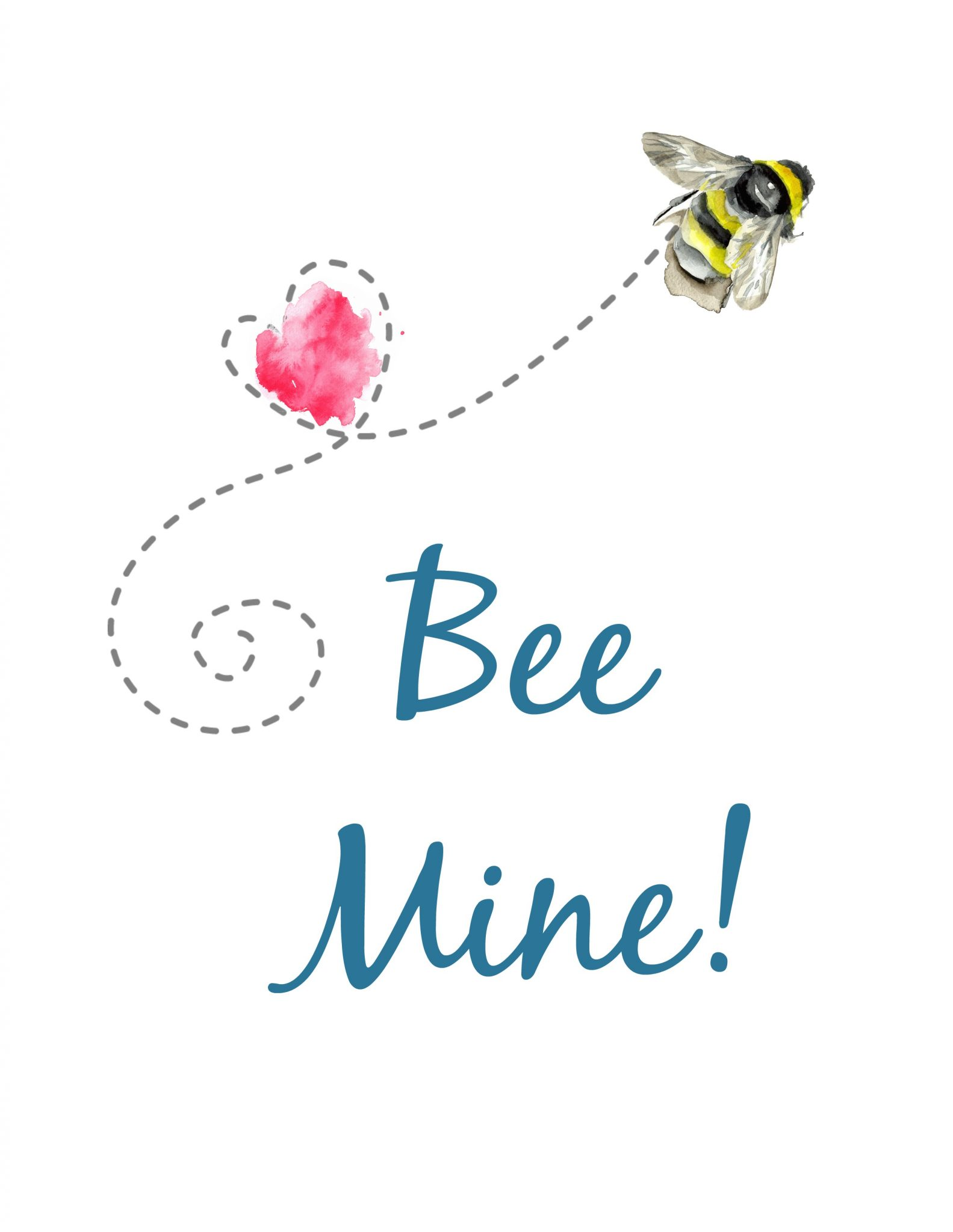 Bee Mine Valentine Printables with teal graphics