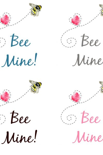 Bee Mine Valentine Printable – 4 Color Options