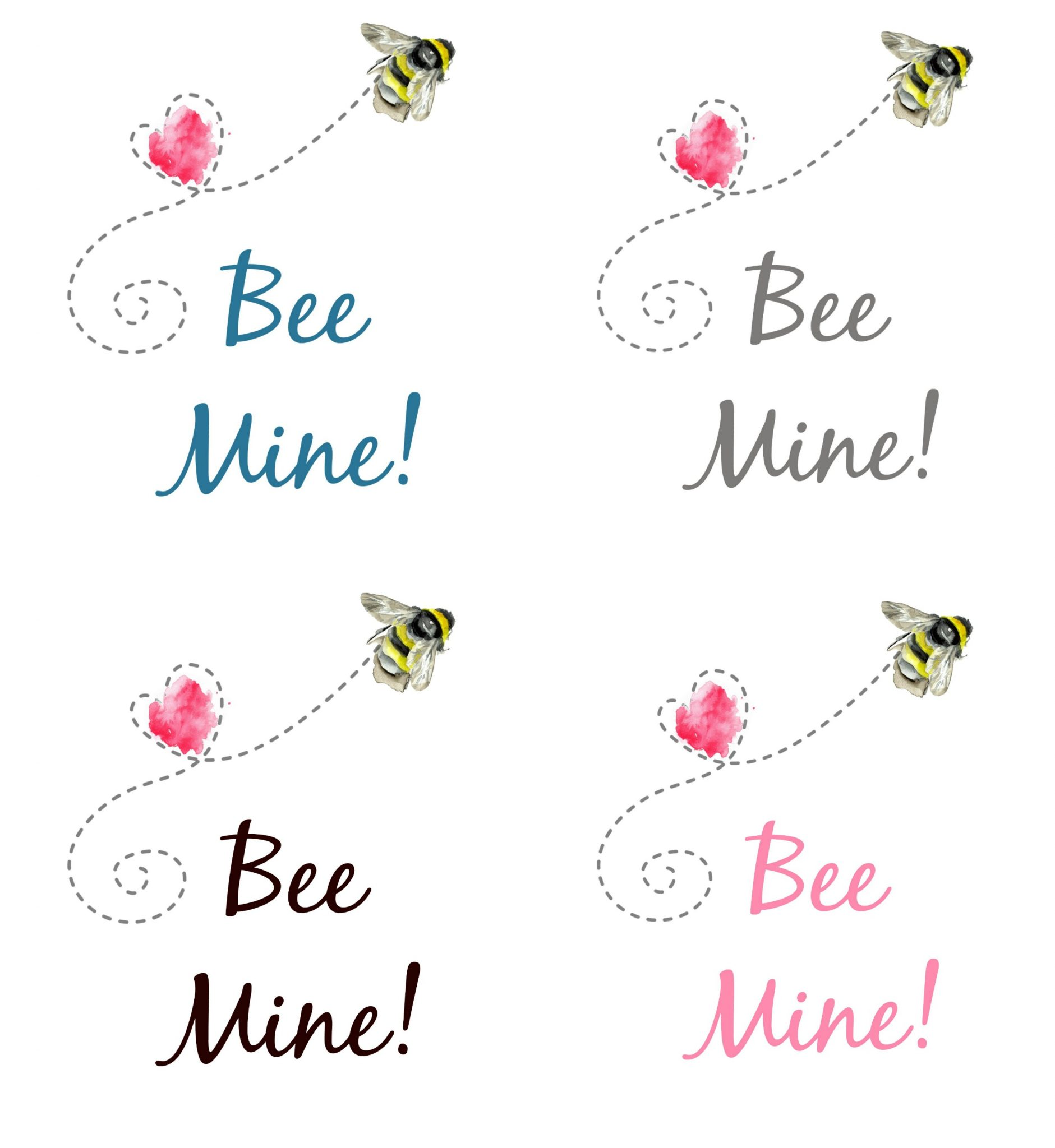 Bee Mine Valentine Printables with all four color graphics