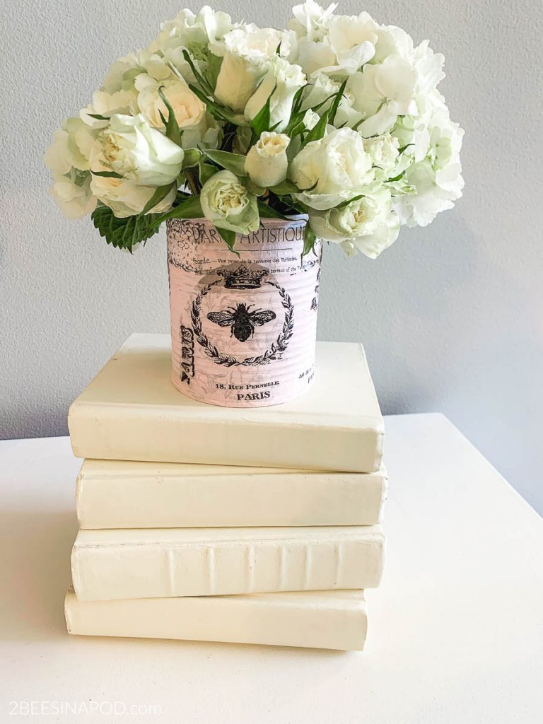 Shabby French tin can vase is perfect for Valentine's Day or Mother's Day