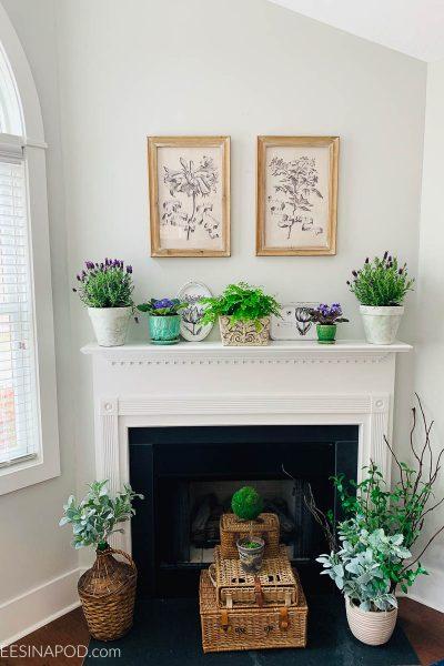 Vintage Botanical Spring Mantel