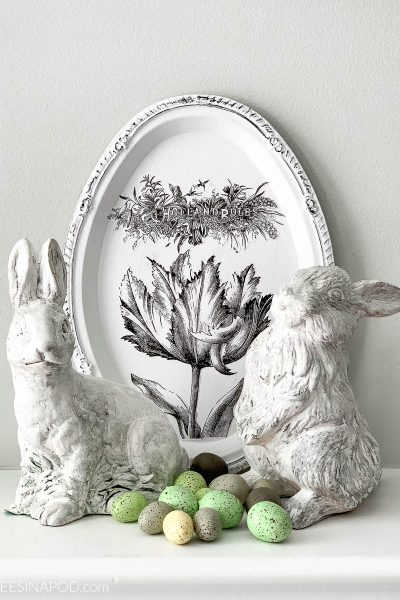 Easy Easter Mantel – Bunnies and Speckled Eggs