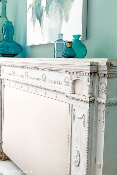 White Wash Painted Mantel Headboard – Beginnings of a Bedroom Makeover