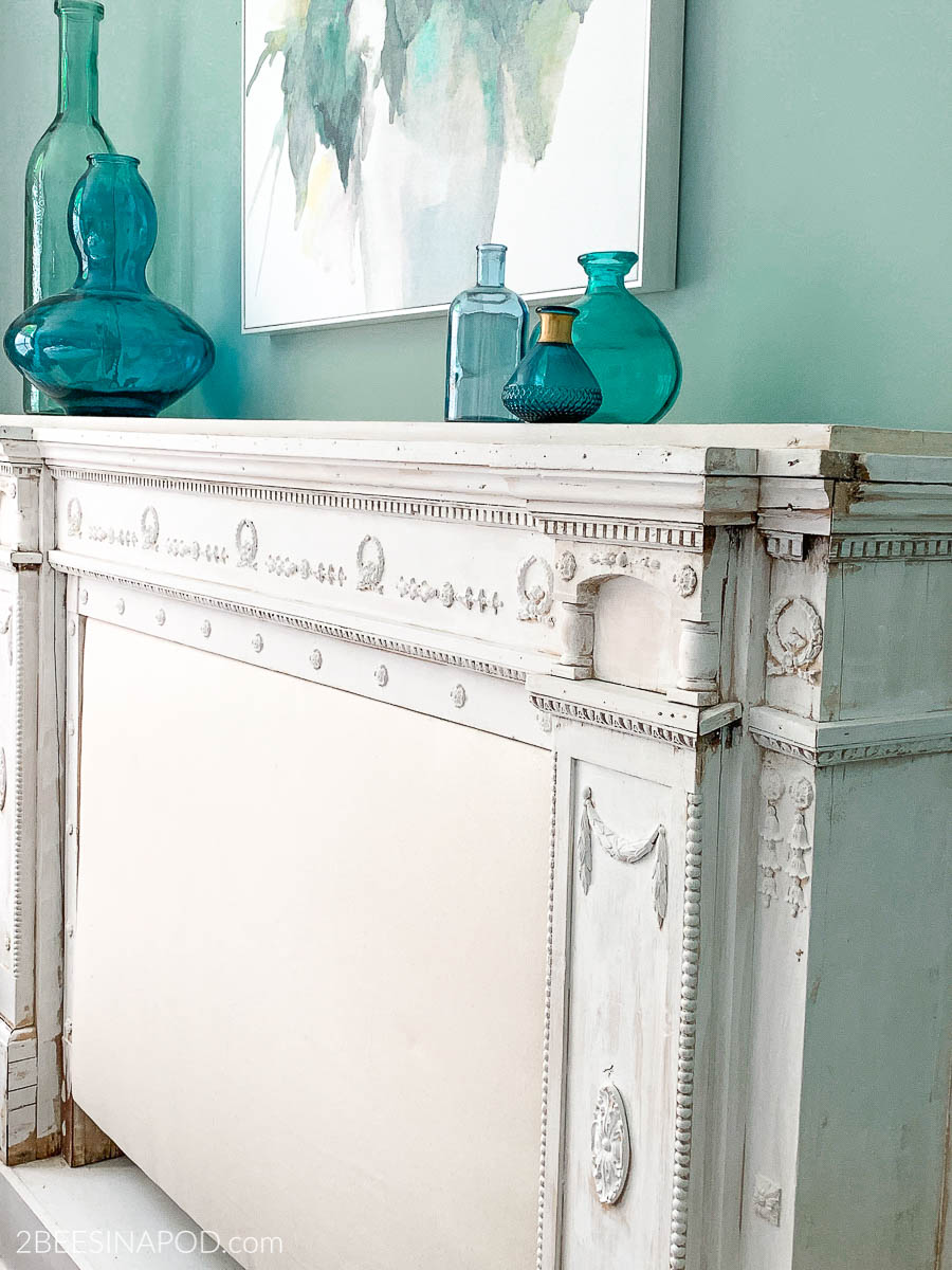 White Wash Painted Mantel Headboard Beginnings Of A Bedroom Makeover 2 Bees In A Pod