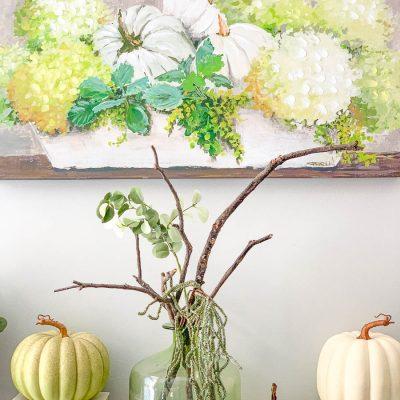 Early Fall Mantel – Green + White