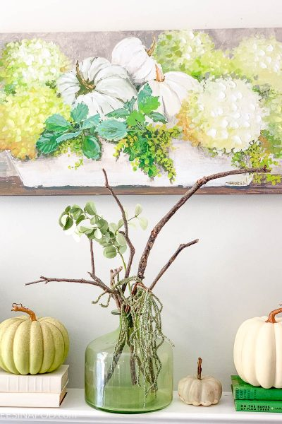 Early Fall Mantel – Green + White
