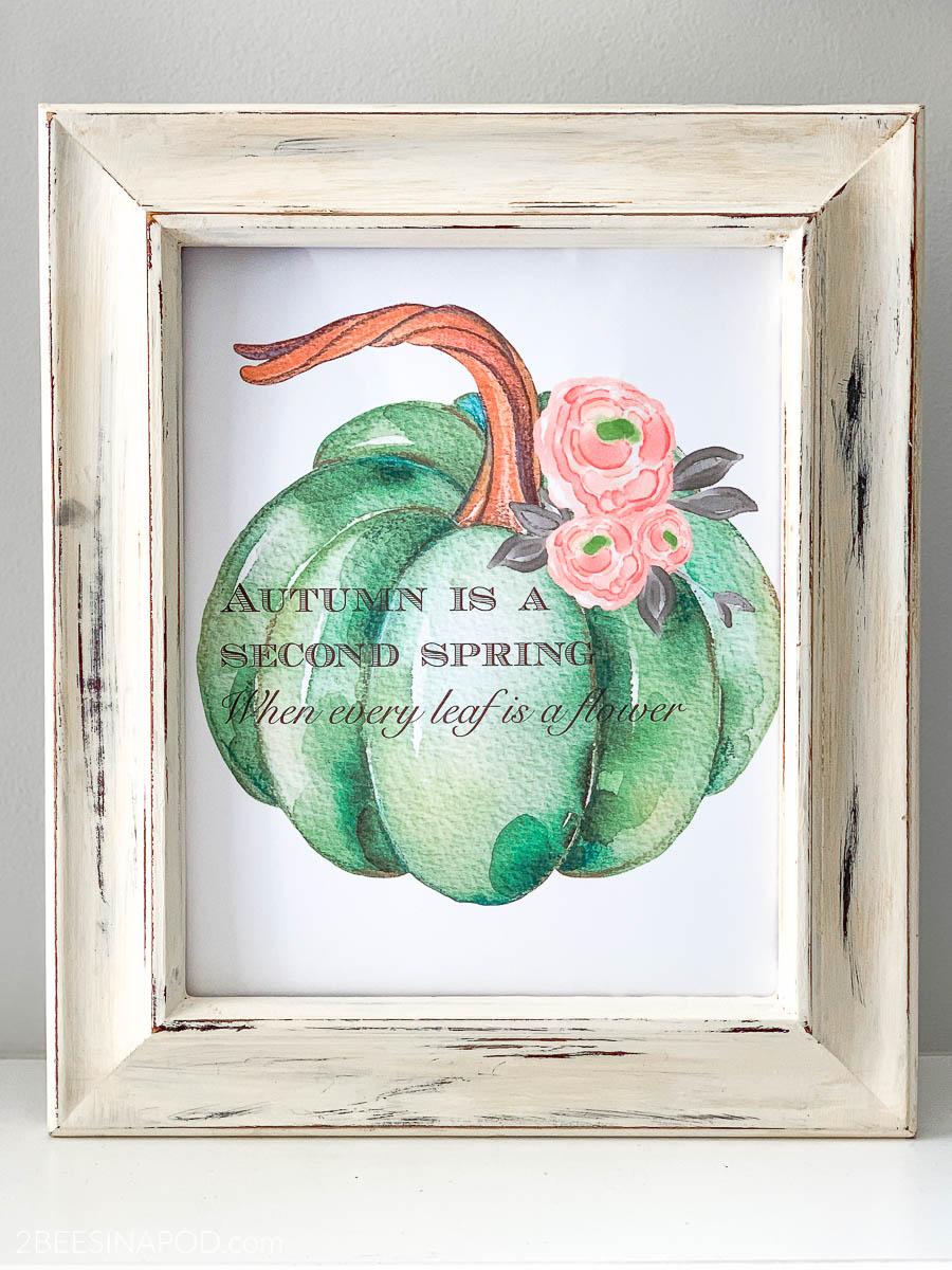 Fall Pumpkin Watercolor Printable
