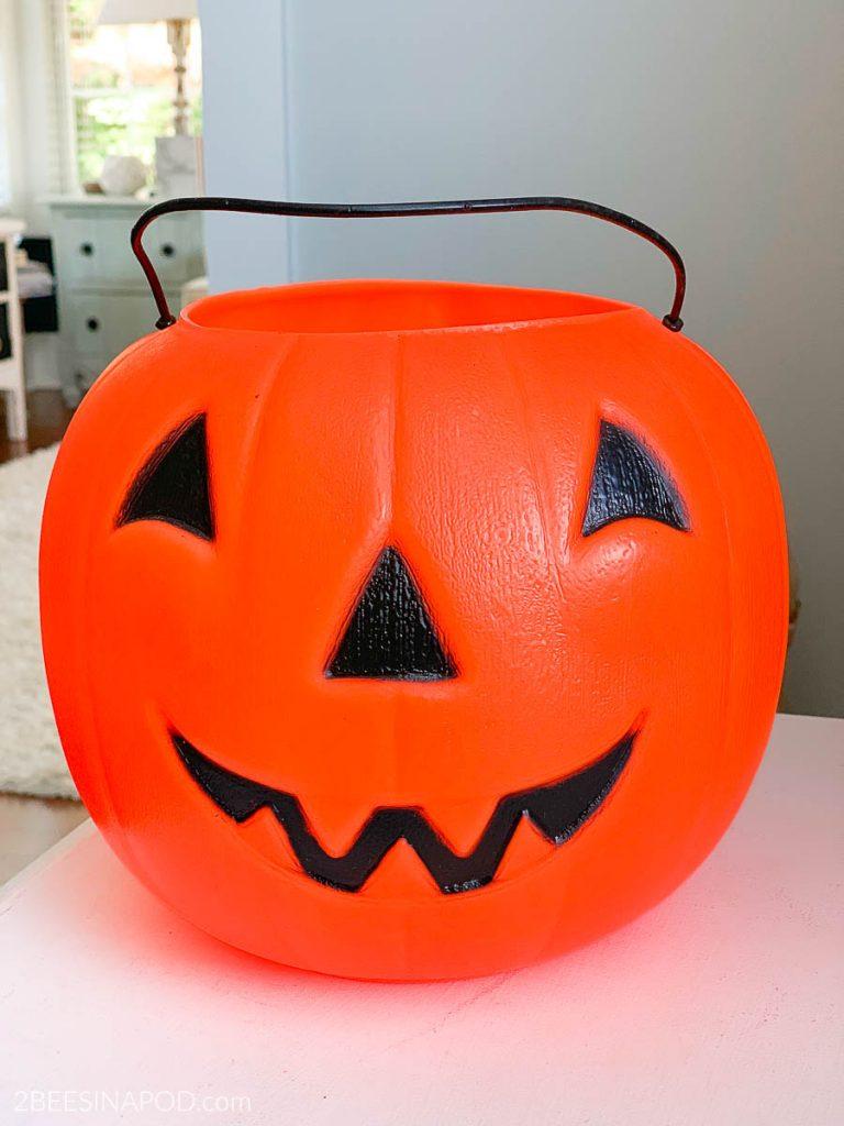 Painted Plastic Jack-O-Lantern Makeover