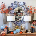 All the Buzz - Fall Favorites Blue and white plate wreath