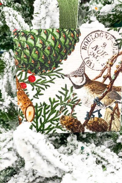 Art Canvas Decoupage Christmas Ornament