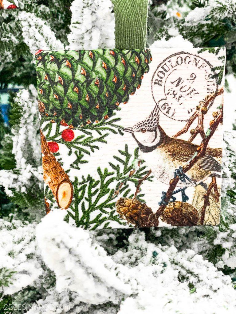 Art Canvas Decoupage Christmas Ornament