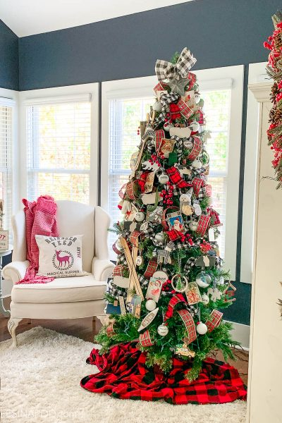 Red Plaid Christmas Tree