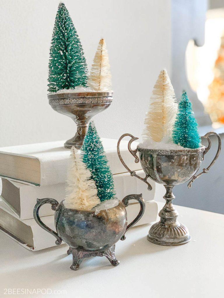 Vintage Silver Sugar Bowls and Christmas Bottlebrush Trees
