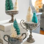 Vintage Silver Sugar Bowls and Christmas Bottlebrush Trees
