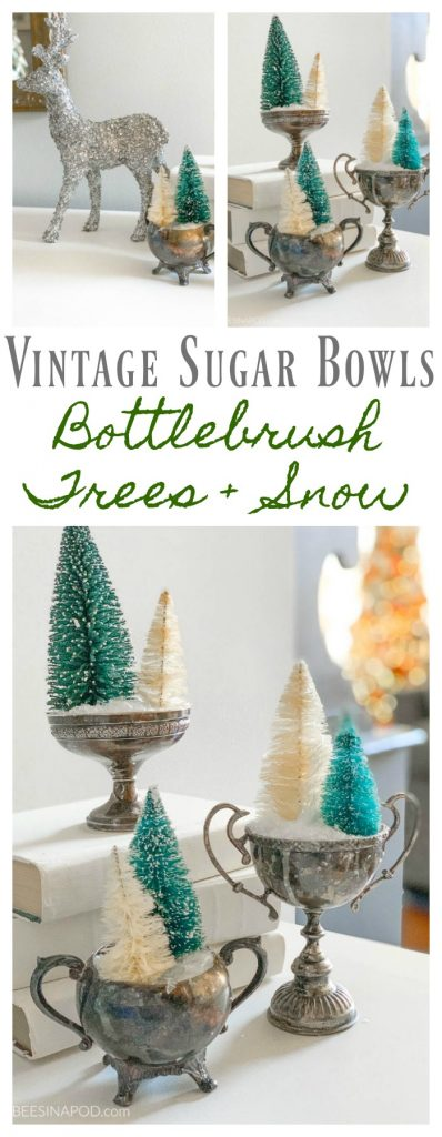 Vintage-Sugar-Bowls-with-Faux-Snow-and-Bottlebrush-Trees