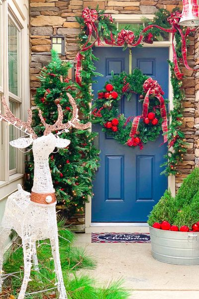 Traditional Christmas Porch greenery