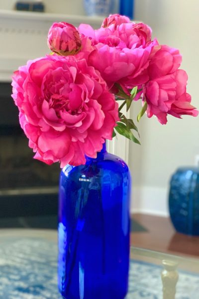 peonies and cobalt blue vase. 35 Useful Things to do When You're Stuck at Home